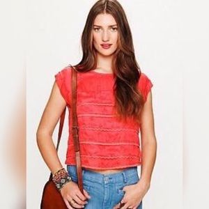 Free People Coral Eyelet Ruffle Top - Sz L